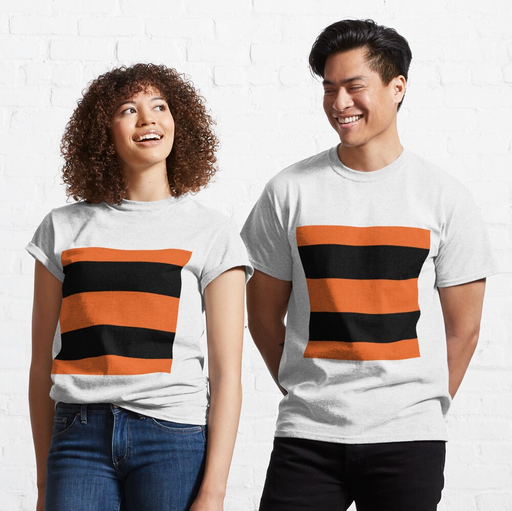 Halloween Stripes - Black and Orange - Classic striped pattern by Cecca Designs Classic T-Shirt
