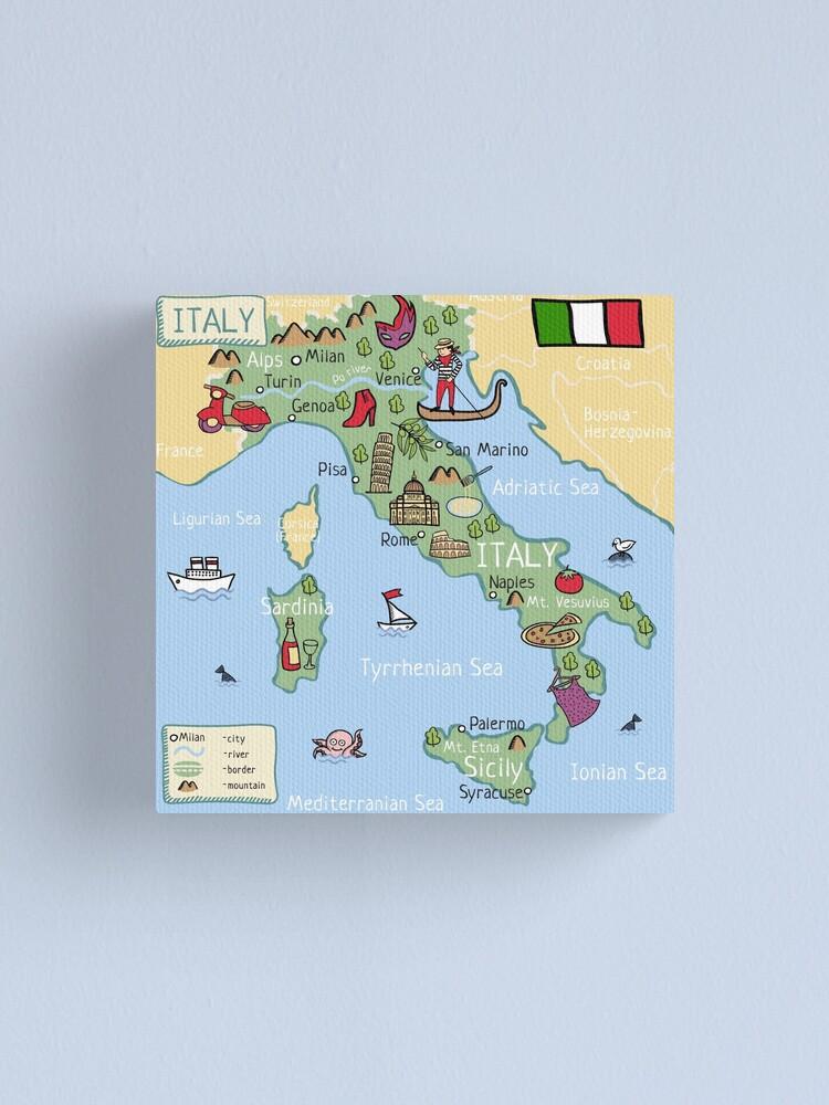 Italy Cartoon Map Canvas Print
