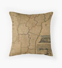 Map of Vermont 1824 Throw Pillow