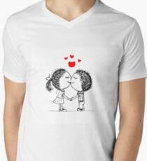 Couple in love together, valentine sketch for your design Mens V-Neck T-Shirt