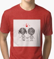 Couple in love together, valentine sketch for your design Tri-blend T-Shirt