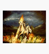 Smoking monocled cat with a top hat riding a flaming unicorn Photographic Print