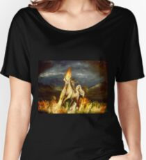 Smoking monocled cat with a top hat riding a flaming unicorn Women's Relaxed Fit T-Shirt