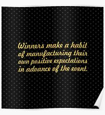 """Winners make a habit... """"Brian Tracy"""" Inspirational Quote (Square) Poster"""