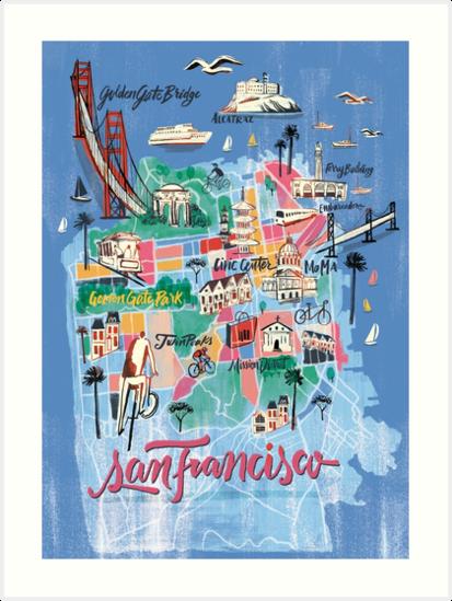 San Francisco Illustrated Map Art Prints By Francisco Martins