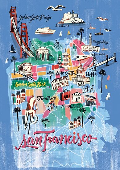 San Francisco Illustrated Map Posters By Francisco Martins Redbubble
