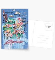 San Francisco illustrated Map Postcards