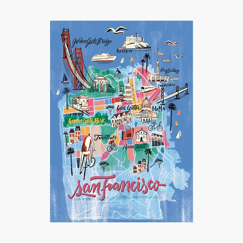 San Francisco illustrierte Karte Fotodruck