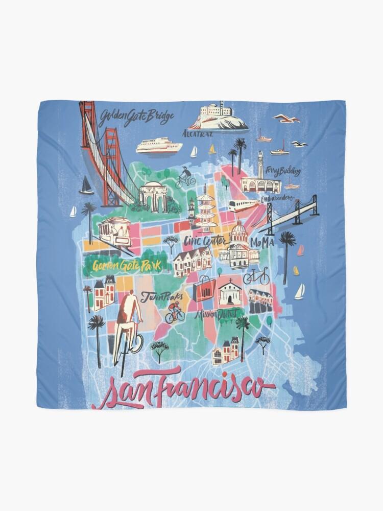 Alternative Ansicht von San Francisco illustrierte Karte Tuch
