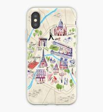 Vinilo o funda para iPhone Mapa ilustrado de París
