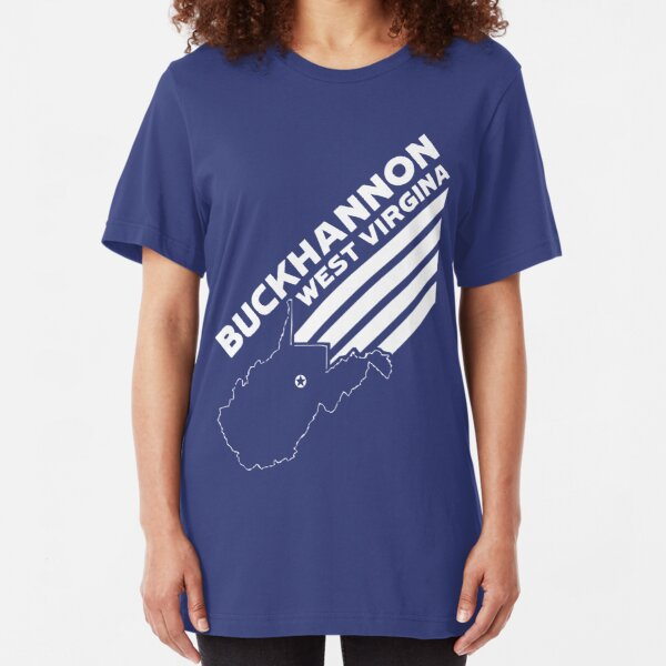 Buckhannon West Virginia with Stripes and State Outline - BLUE Slim Fit T-Shirt