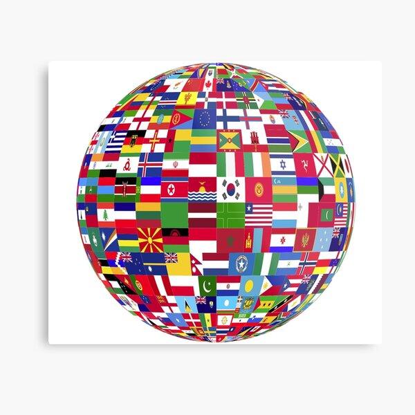 World Flags Globe Metal Print