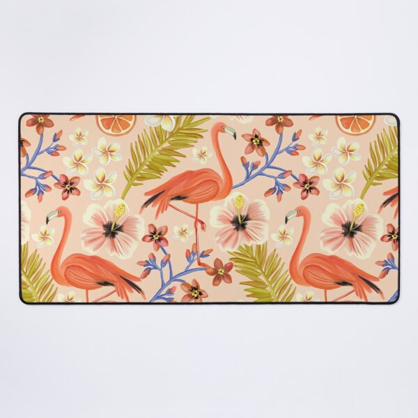 Tropical Summer Orange & Pink Flamingo Pattern Desk Mat