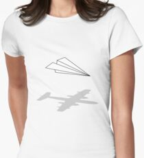 Paper Airplane Womens Fitted T-Shirt