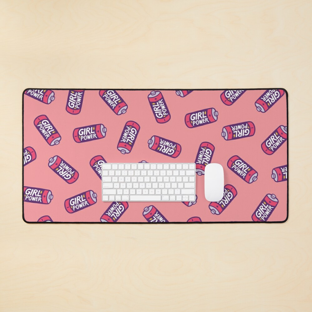 Girl Power Pattern in Pink Mouse Pad