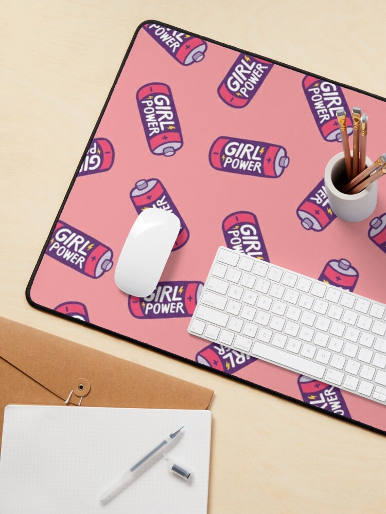 Alternate view of Girl Power Pattern in Pink Mouse Pad