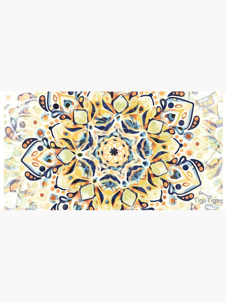 Stained Glass Mandala - Mustard Yellow & Navy  by TigaTiga