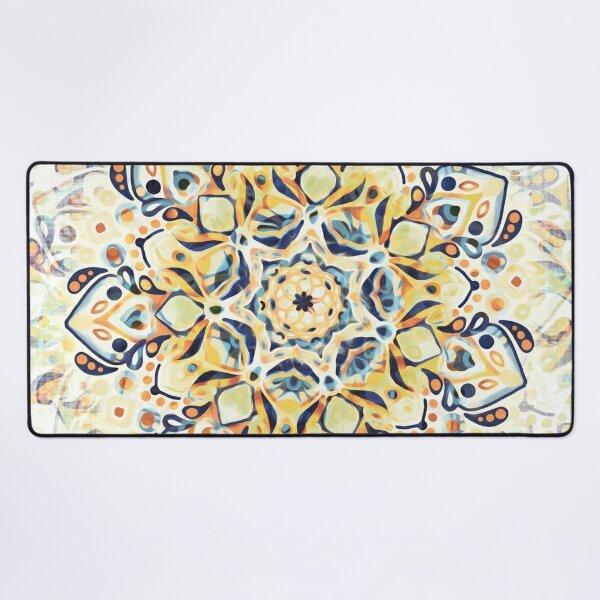 Stained Glass Mandala - Mustard Yellow & Navy  Desk Mat