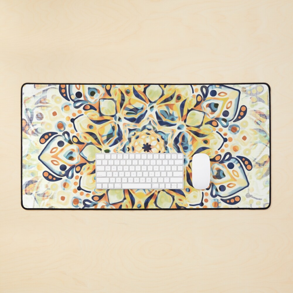 Stained Glass Mandala - Mustard Yellow & Navy  Mouse Pad