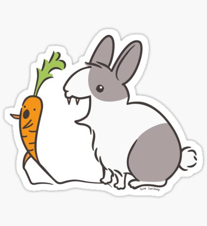 Vampire Bunny Rabbit with Unfortunate Carrot Sticker