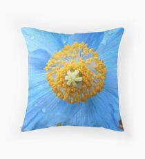 BLUE POPPY FLOWER PETALS Throw Pillow