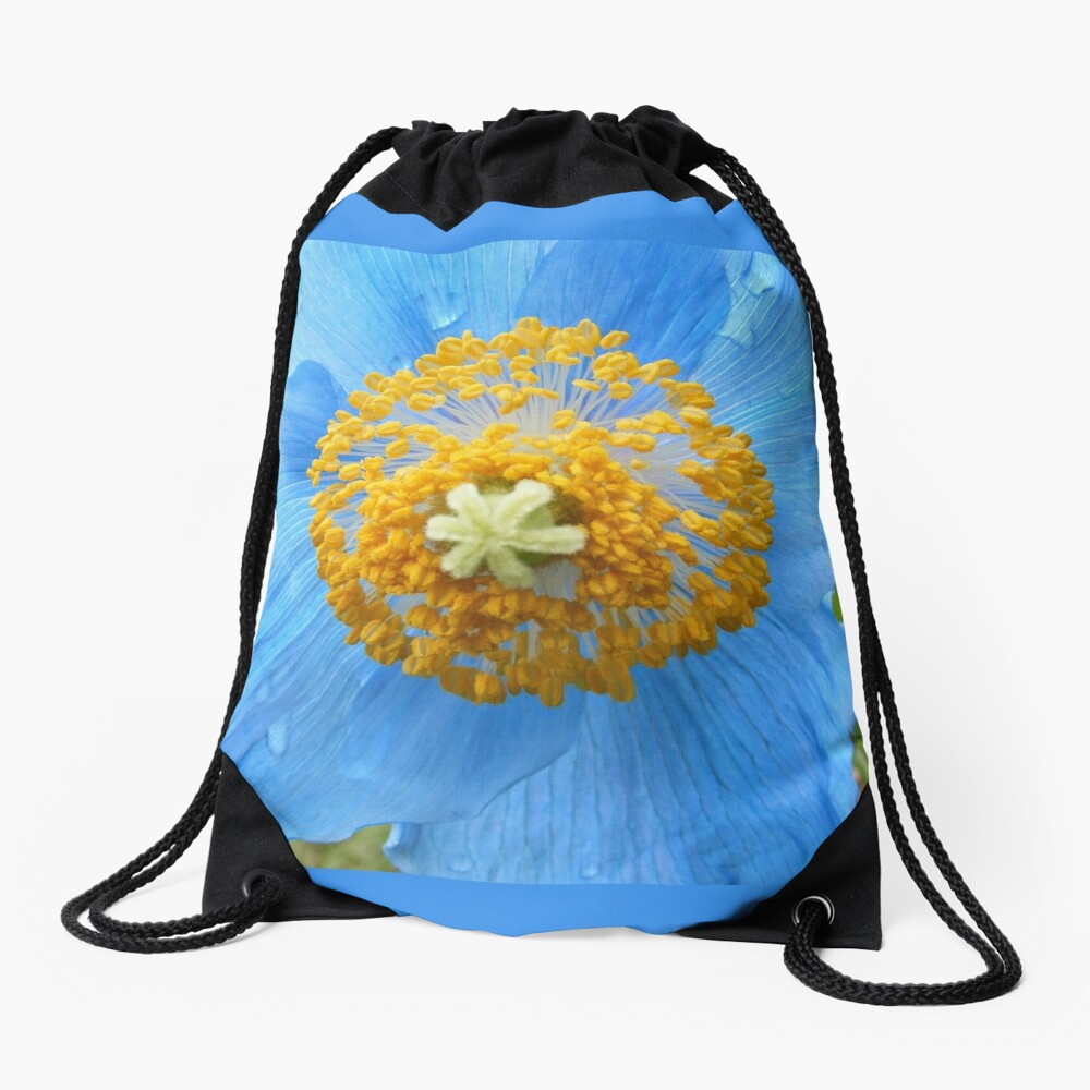BLUE POPPY FLOWER PETALS Drawstring Bag