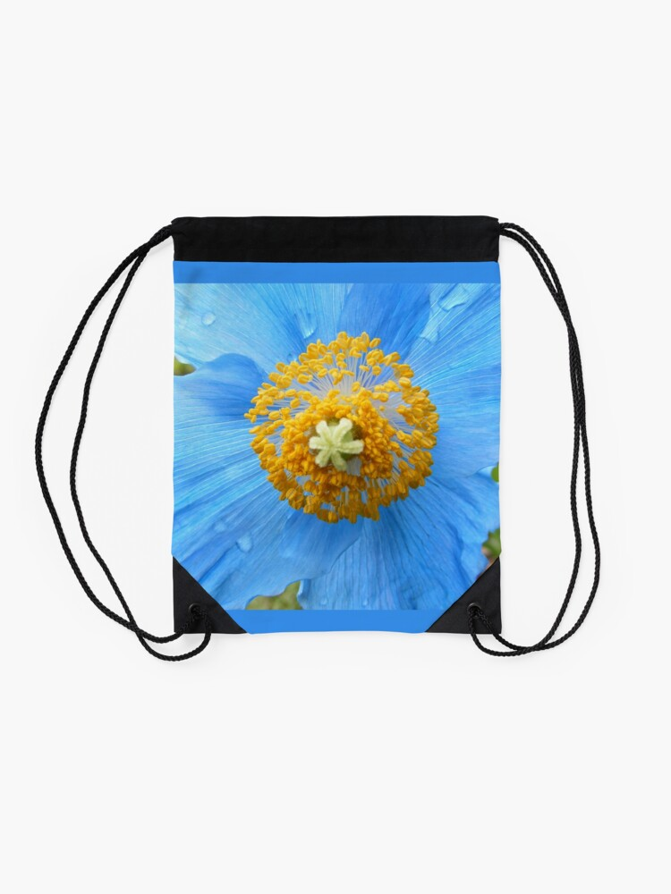 Alternate view of BLUE POPPY FLOWER PETALS Drawstring Bag