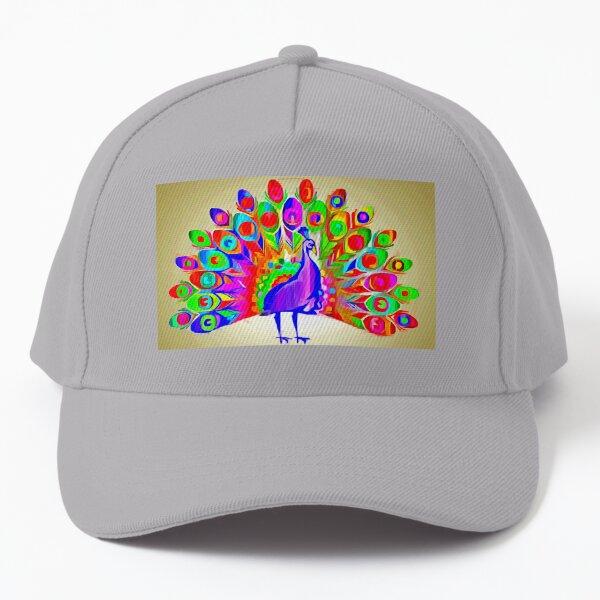 A Pop-Art Peacock  Baseball Cap