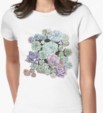 Succulent Sketches Women's Fitted T-Shirt