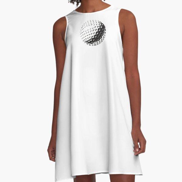 GOLF BALL, SPORT, Golfing, Golf, Black on White. A-Line Dress