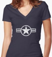 Military Roundels - United States Air Force - USAF F-117 Women's Fitted V-Neck T-Shirt