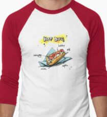 Classic Hot Dog Illustration with Ingredients Men's Baseball ¾ T-Shirt