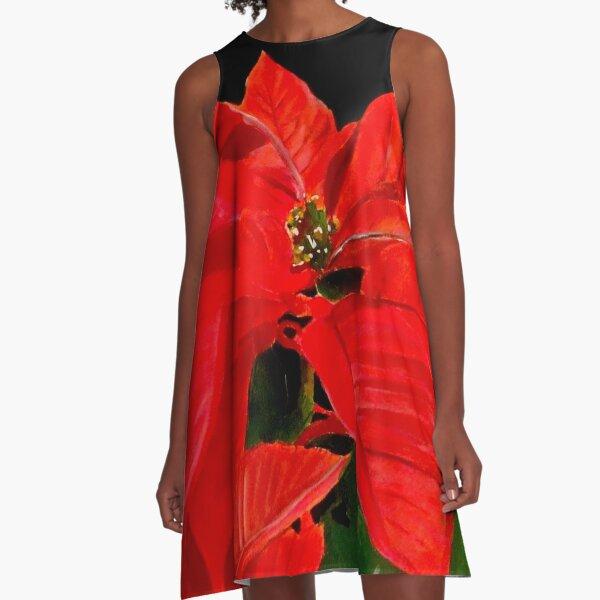 Poinsettia A-Line Dress