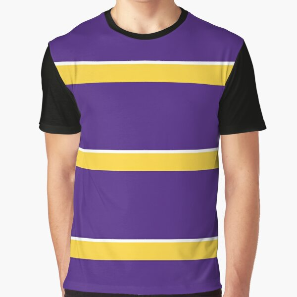Purple Yellow and White Banded Graphic T-Shirt