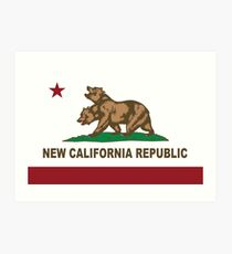 New California Republik Flagge Original Kunstdruck