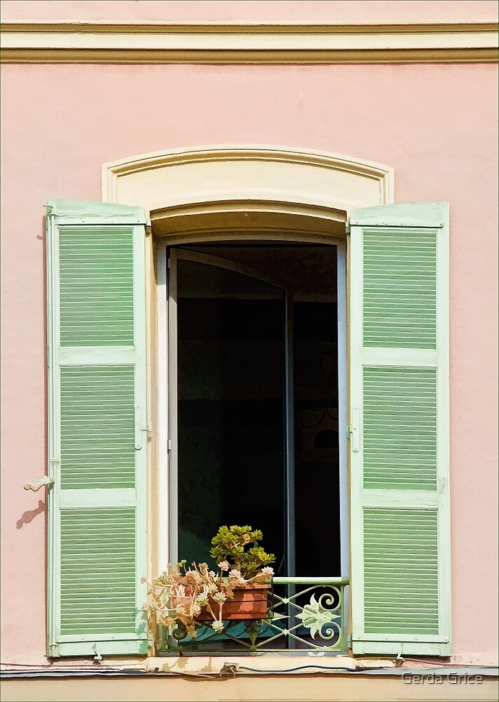 Open Window with Shutters in Nice, France by Gerda Grice