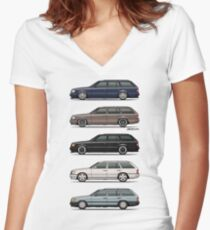 Stack of Mercedes W124 S124 E-Class Wagons Women's Fitted V-Neck T-Shirt