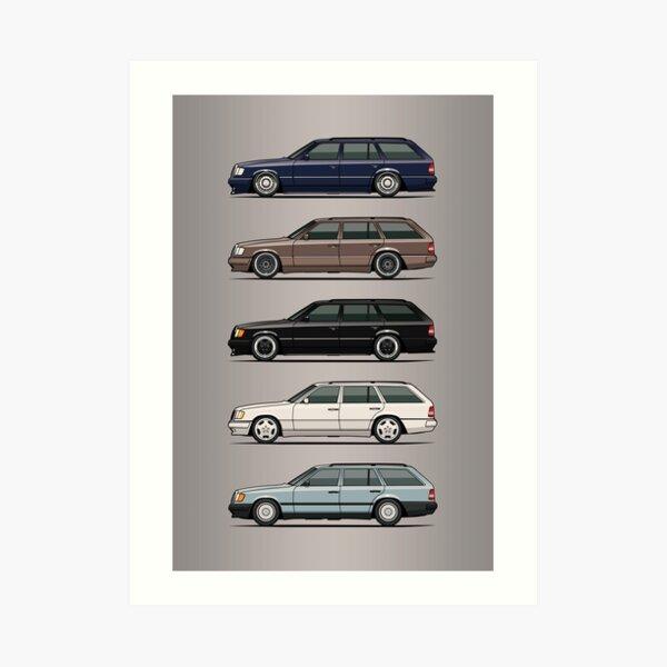Stack of Mercedes W124 S124 E-Class Wagons Art Print