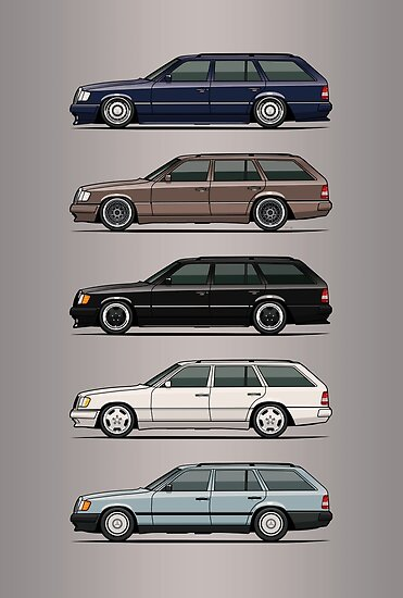 Stack of Mercedes W124 S124 E-Class Wagons by Tom Mayer