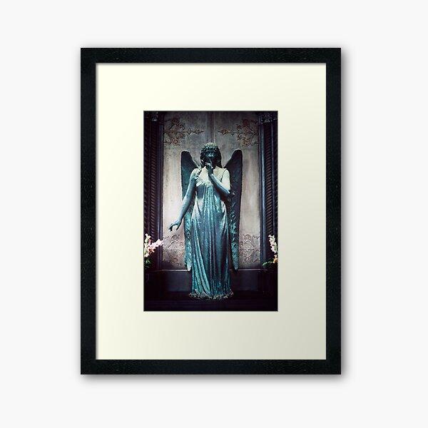 Blue Angel, Cimitero Monumentale di Staglieno, Genoa, Italy Framed Art Print