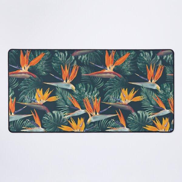 Ornamental Pattern With Orange Color Flowers Desk Mat