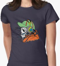 Skeleton with Headphones - Funny Cartoon Unisex Women's Fitted T-Shirt