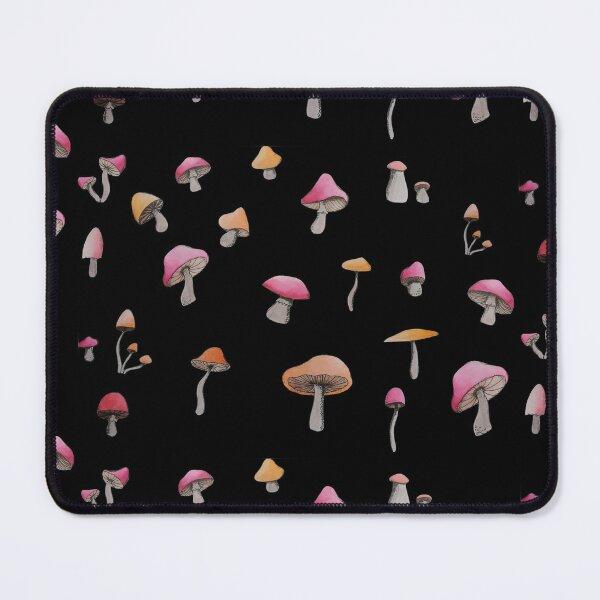 simple red and orange mushroom pattern (black background) Mouse Pad
