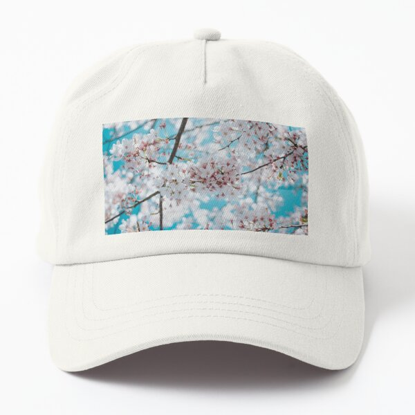 Cool Cherry Morning - Fine Art Photograph of Spring Cherry Blossoms with Bright Blue Sky  Dad Hat