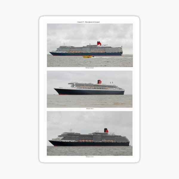 Cunard 175 - Three Queens at Sea Sticker