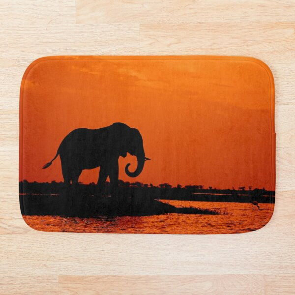 Elephant Silhouette in the sunset Bath Mat