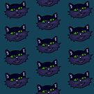 Smily Blue Cat Face by Fiona Lokot