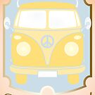 Retro van card illustration with French text for happy holidays by schtroumpf2510