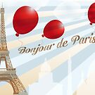 Postcard from Paris with French text and landmarks by schtroumpf2510