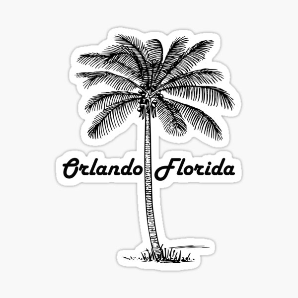 Black and White Orlando & Palm Sticker